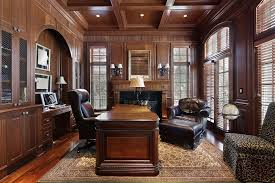 Image Old Richly Appointed Home Office And Den With Large Dark Wood Furniture Extensive Wood Paneling Wood Floor With Rug And Leather Office Furniture Pinterest 51 Really Great Home Office Ideas photos Home Office Pinterest