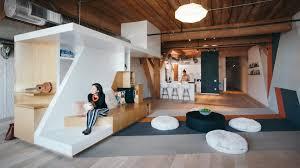 custom furniture follows lines of geometric graffiti in live work loft by cha col