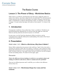 Lesson 3 The Power Of Story Worldview Basics