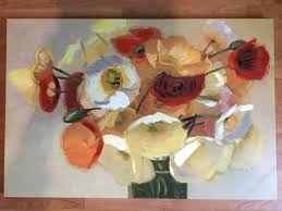 large flower screen print embellished with oils mixed media flower paintings mixed media flower pictures