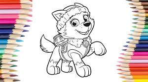 How To Draw Paw Patrol Everest Coloring Pages Kids Learn Drawing