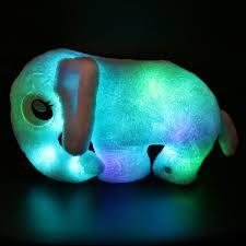Houwsbaby Light Up Elephant Stuffed Animal Soft Plush Toy Glow In Dark Led Cushion Pillow Hugging Companion Pet Gift For Kids Halloween Christmas