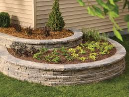 circular terraced planters made from ledgewall concrete block retaining wall blocks