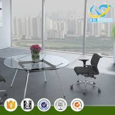 fashionable small office table round glass conference tables tempered glass meeting table