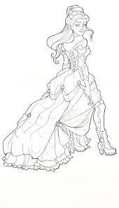 Steampunk Belle Line Drawing By Khallion