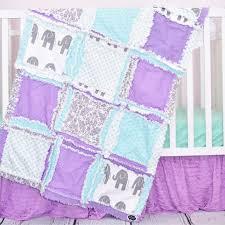 elephant crib set mint gray purple