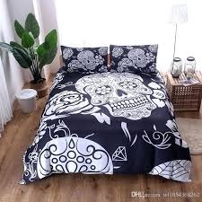 skull comforter set white blue sugar skull bedding set mandala duvet cover pillowcase bohemian bedclothes bed