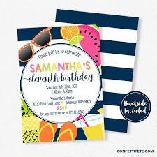 Tropical Party Invitations Tutti Frutti Invitation Summer Party Invitations Tropical Birthday