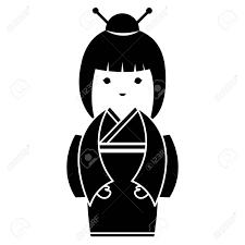 小さな日本の人形かわいい文字ベクトル イラスト デザイン