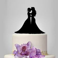 Bride Dan Groom Pernikahan Cake Topper Siluet Mabuk Pengantin