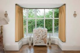 image of curtains for bay windows treatment