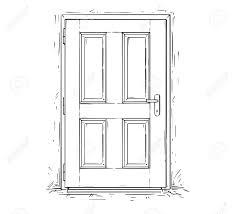 closed door drawing. Cartoon Vector Doodle Drawing Illustration Of Closed Wooden Decision Door. Stock - 91628108 Door D