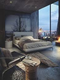 masculine bedroom has a big window