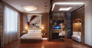home office decor computer. Alluring Home Office Decor In Bedroom With Tetured Wood Floor And Bedsheet Also White Transparent Curtain Computer
