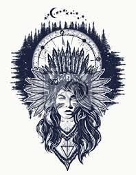 Fototapeta Nativní Americká žena A Kompas Tetování Umění Etnická Dívka