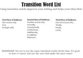 List Of Transition Words In Essays Custom Paper Example
