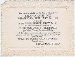 Grand Opening Invitations Grand Opening Of J Raufman Bro Gentlemens Store Troy