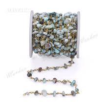 Online Shop Mankuu Natural Larimar Chips Stone Beaded <b>Chain</b> ...