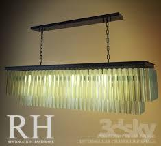 rh 1920s odeon glass fringe rectangular chandelier small
