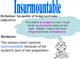 middle school word of the week ppt video online insurmountable definition incapable of being overcome adjective