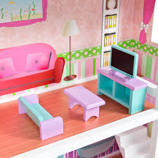Barbie Kitchen Furniture Large Childrens Wooden Dollhouse Fits Barbie Doll House Pink With