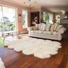 large sheepskin rug 10 pelt ivory white color