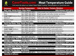 Meat Temperature Magnet Best Internal Temp Guide Indoor Chart Includes Min Max Of All Food For Kitchen Cooking F To C Conversions Use Digital