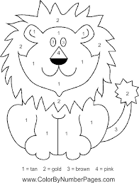 Small Picture lion color by number page Dierentuindieren Knutselideen