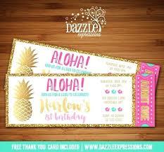 Hawaiian Birthday Party Invitations Themed Invitations Luau Birthday