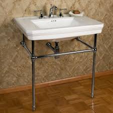 mason porcelain console sink with brass stand