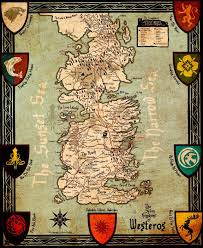 art from game of thrones  seven kingdoms of westeros map by