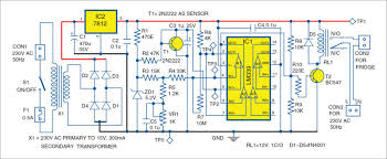 electronics projects electronic thermostat for fridge Fridge Thermostat Diagram 1 circuit of the electronic thermostat for a fridge mini fridge thermostat wiring diagram