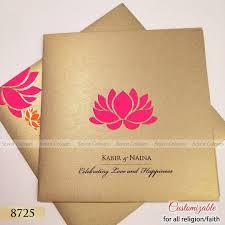 Wedding Kankotri Design Magenta Lotus Design On Grey Gold Card Sheet Looks So