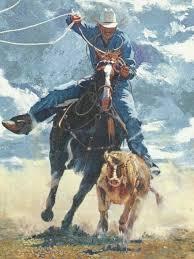 cowboy calf roping wallpaper border