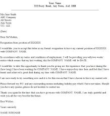 Formal Resignation Letter Example Formal Resignation Letter Example With Two Weeks Notice