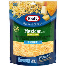 shredded cheese.  Cheese Kraft Mexican Style Four Cheese 2 Milk Shredded On R