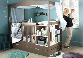 Turquoise Baby Nursery Design With Functional Brown Crib And Furniture ...