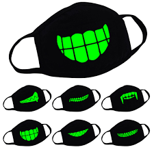Mouth Mask Design Unisex Cotton Funny Luminous Teeth Face Mouth Muffle Mask Glow In Dark Anti Dust