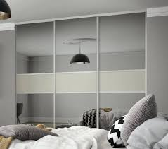 trendy classic 3 panel fineline sliding wardrobe doors in grey mirror and soft white glass with silver classic 3 panel fineline sliding wardrobe doors in