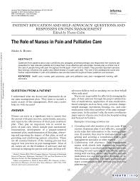 the role of nurses in pain and palliative care pdf the role of nurses in pain and palliative care pdf available