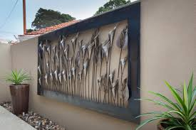 Outdoor Wall Art Black Steel Outdoor Wall Art Ideas Stained Varnished  Exterior Decorations Modern