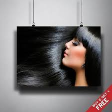 Ladies short haircuts at the best salon in houston covering pearland, katy, tsu, nrg stadium and the texas medical center. Long Black Hair Poster A3 A4 Hairdresser Health Beauty Salon Makeup Art Print Ebay