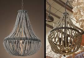 hanging wood bead chandelier