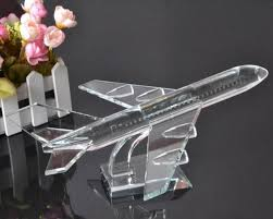 personalized engraved crystal airplane model crystal gift