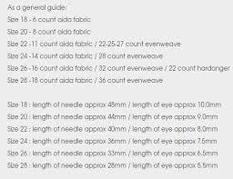 Needle Size Guide Cross Stitch
