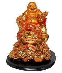 Vastu Art Yellow Resin Vastu / Feng Shui / Laughing Buddha Sitting On Money  Frog For ...