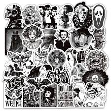 4 Styles 50Pcs Black White Gothic Style <b>Terror Skull</b> Graffiti Stickers ...