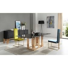 modern wood dining room sets: modrest token modern smoked grey glass amp rosegold dining table