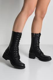 front view take a hike lace up combat boot in black pu