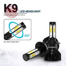 Bộ 2 đèn pha led 4 bóng dạ quang cho xe hơi h7h11 s3k9 - Đèn